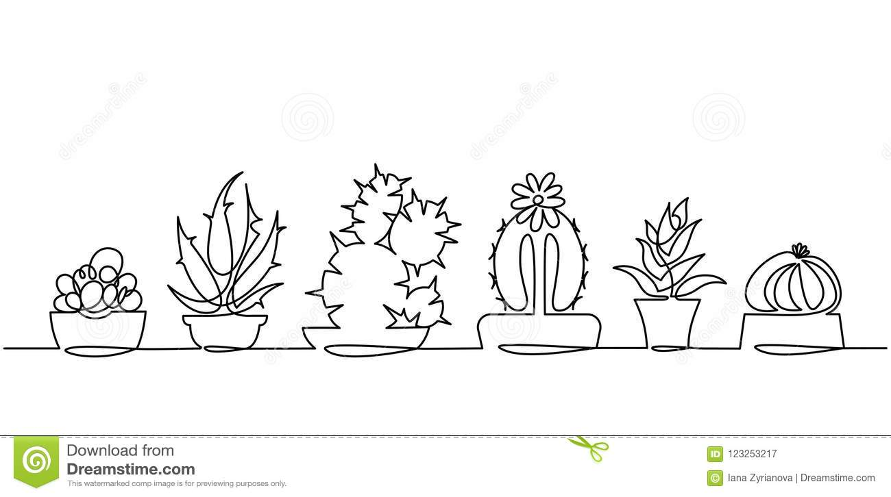 Continuous Line Drawing Of Vector Set Of Cute Cactus Black ...
