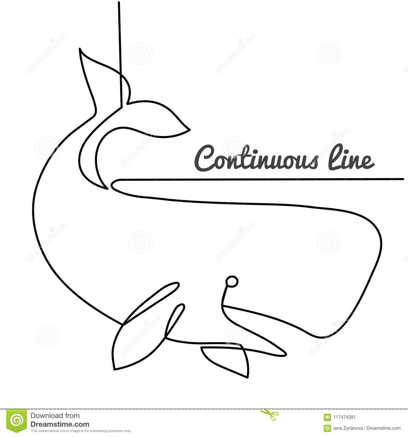 Simple Continuous Line Art : Continuous line drawing of white sperm whale hand drawn