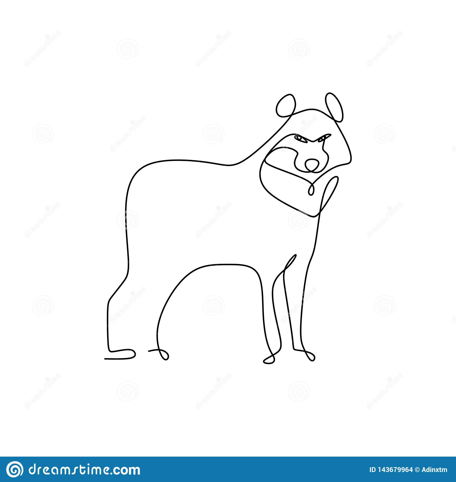 Continuous Line Drawing Of Wolf Animals With A Simple Design