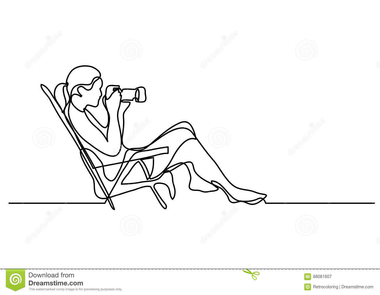 Continuous Line Drawing Of Woman Siiting On A Beach Photographin