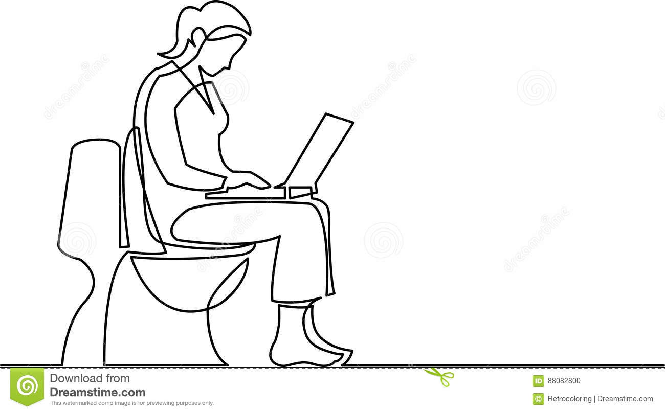 Continuous Line Drawing Of Woman Sitting On Toilet Seat