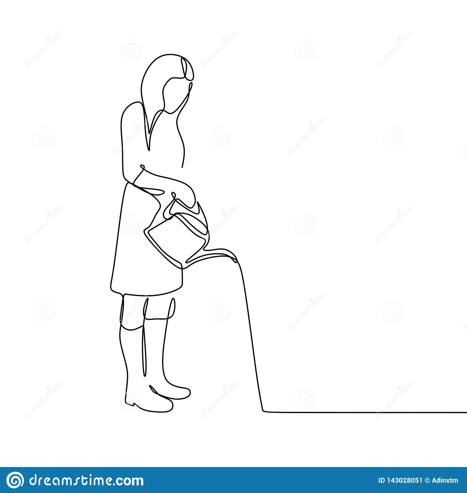 Continuous Line Drawing Of A Woman Watering A Plant Stock Vector Illustration Of Lawn Isolated 143028051