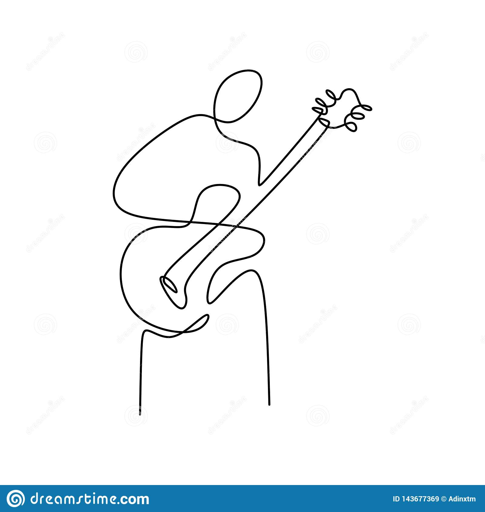 Continuous Line Drawings Playing The Guitar With A Minimalist