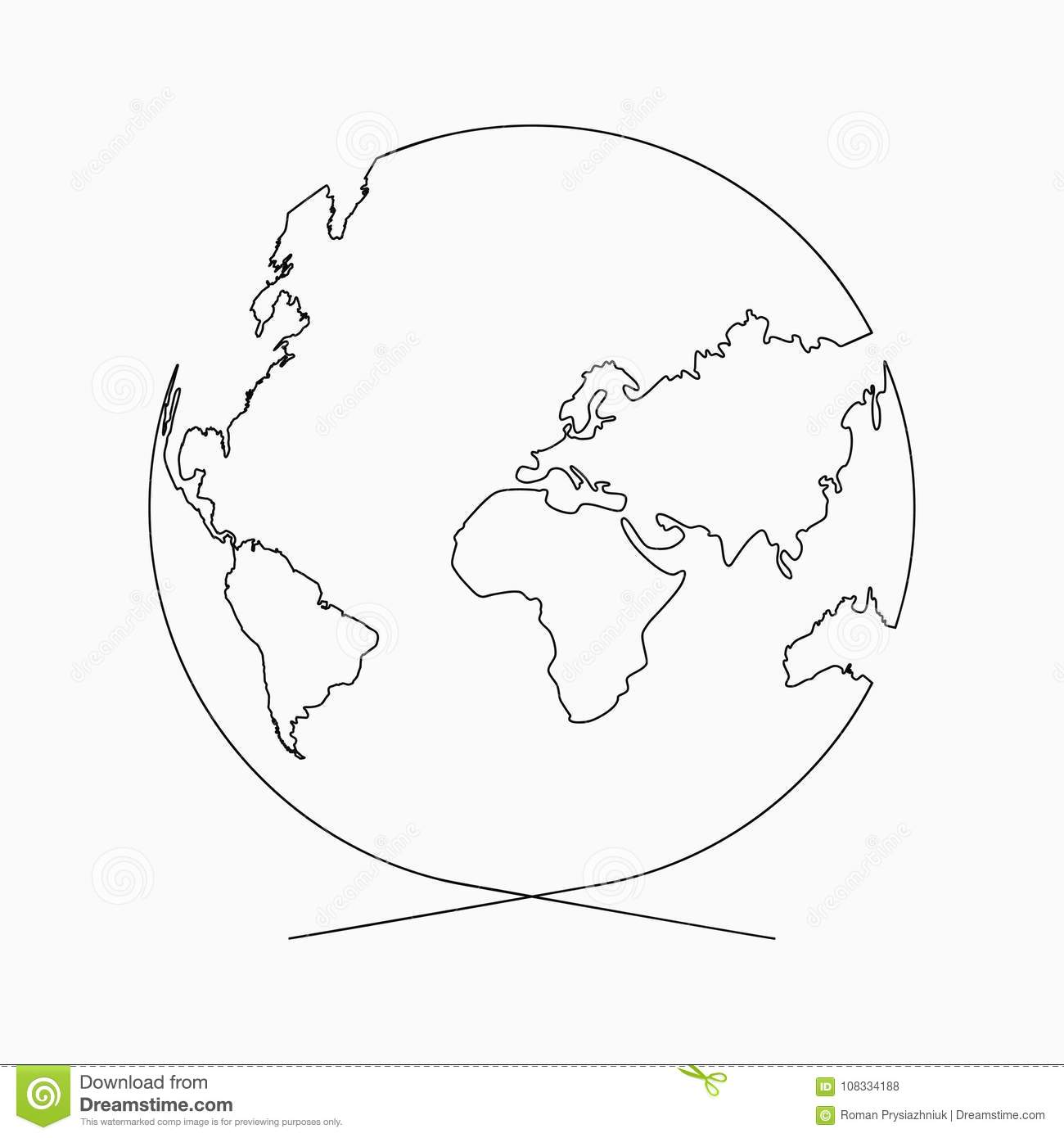 Line Drawing Poster : Continuous line globe planet of earth one drawing