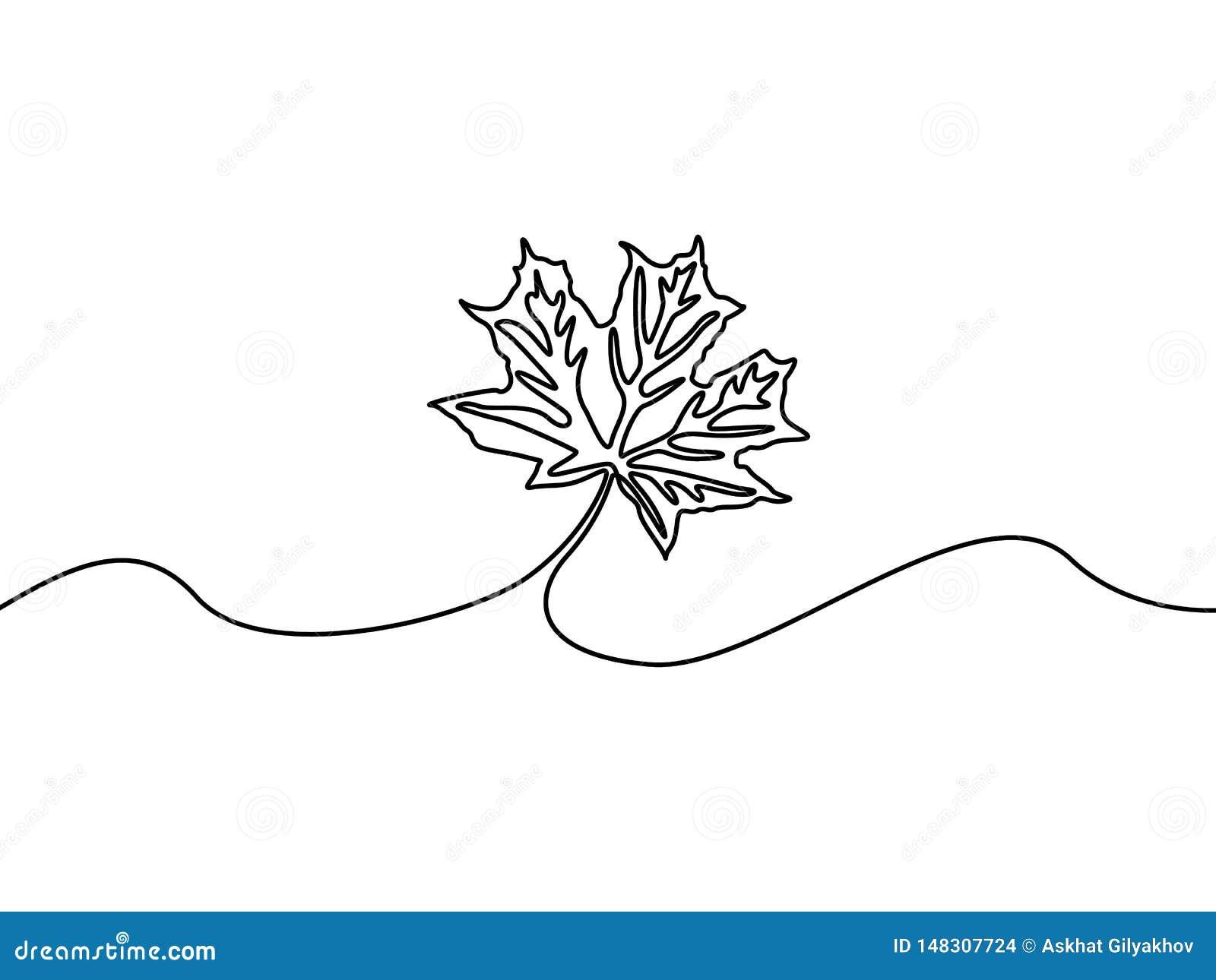 Continuous line maple leaf, nature. Autumn theme. Vector illustration.