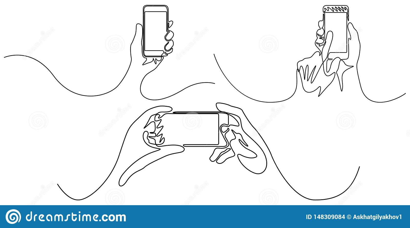 Continuous line set of hand holding smartphone. Gadgets. Vector illustration.