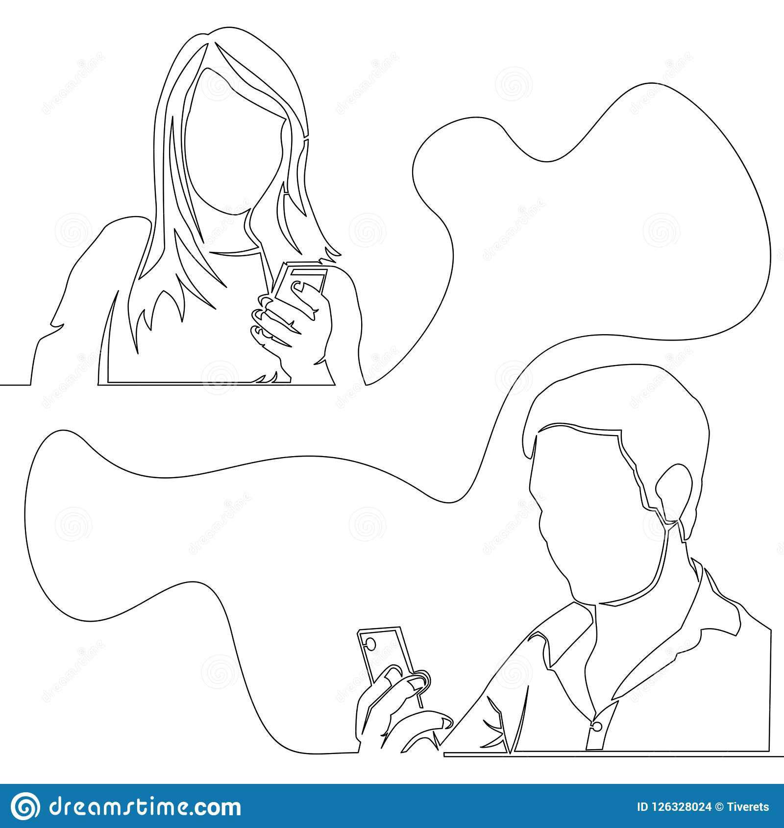 Continuous one line concept man and woman chatting
