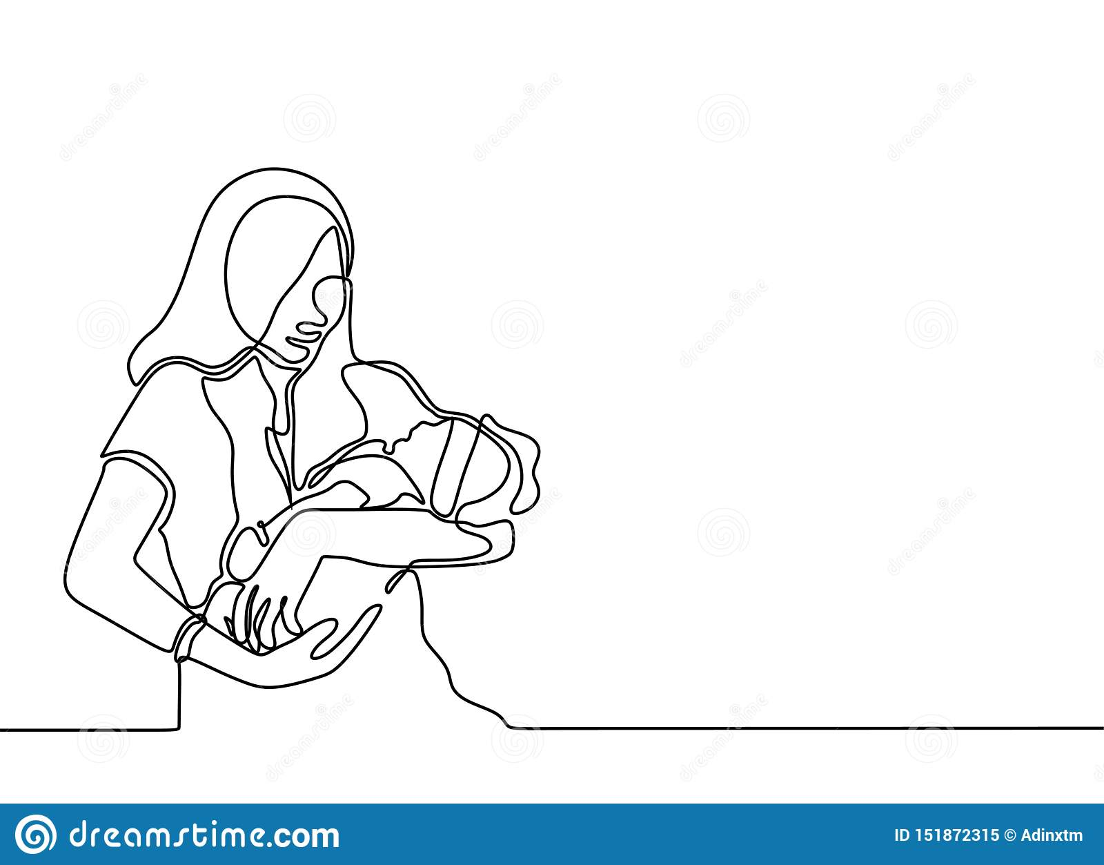 Continuous One Line Drawing Of Baby Born And Mother