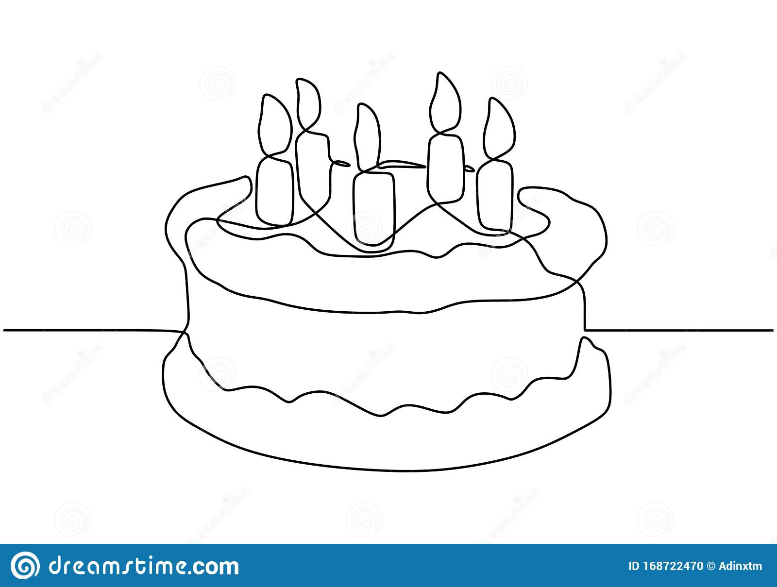 Outstanding Continuous One Line Drawing Of Birthday Cake With Light Candles Personalised Birthday Cards Vishlily Jamesorg