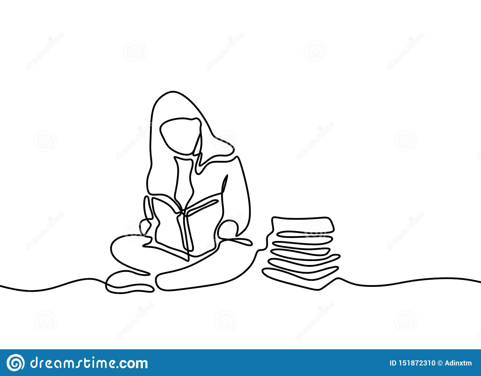 Continuous One Line Drawing Children Reading Book Kids Read