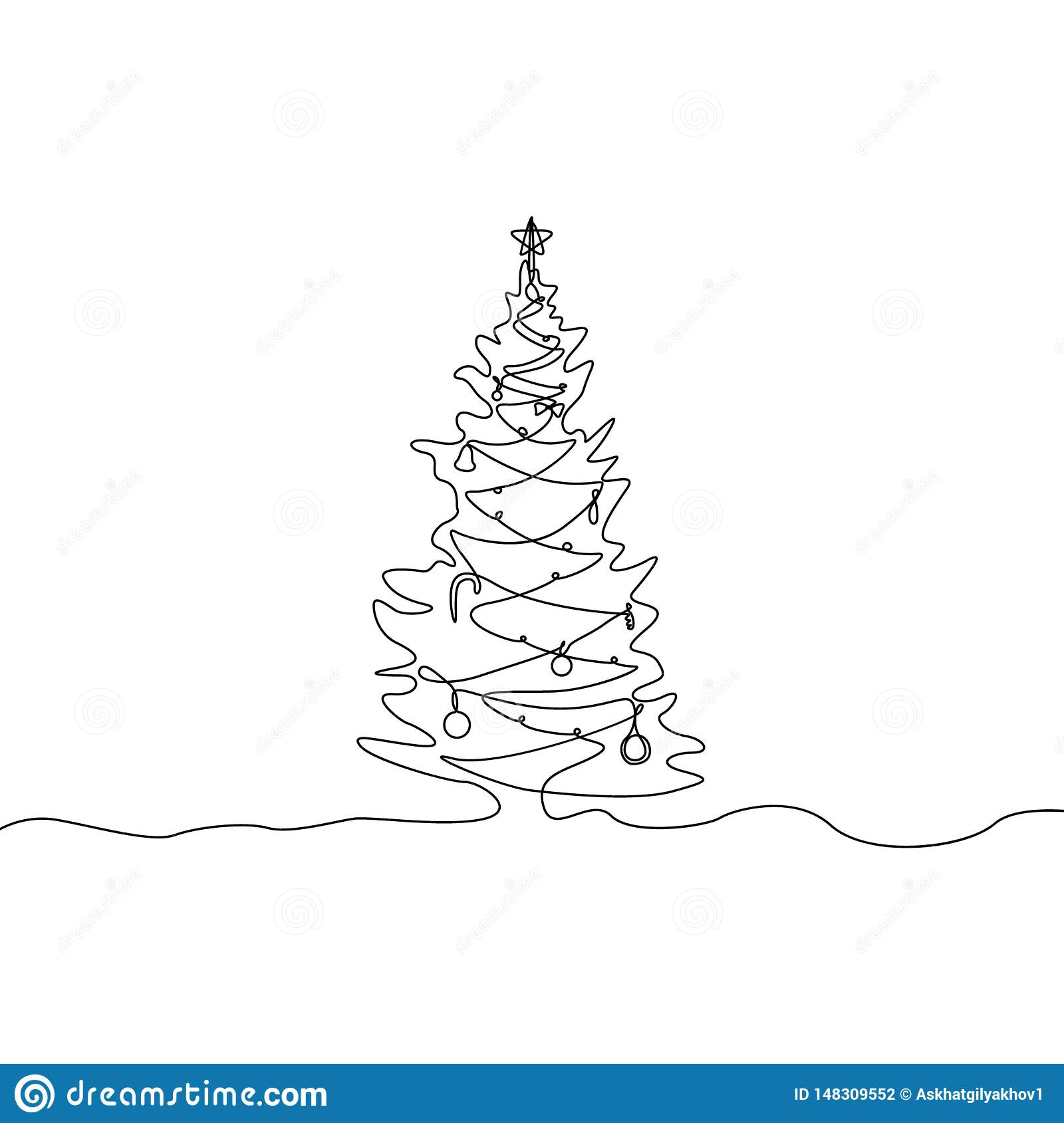 Continuous One Line Drawing Christmas Tree With ...
