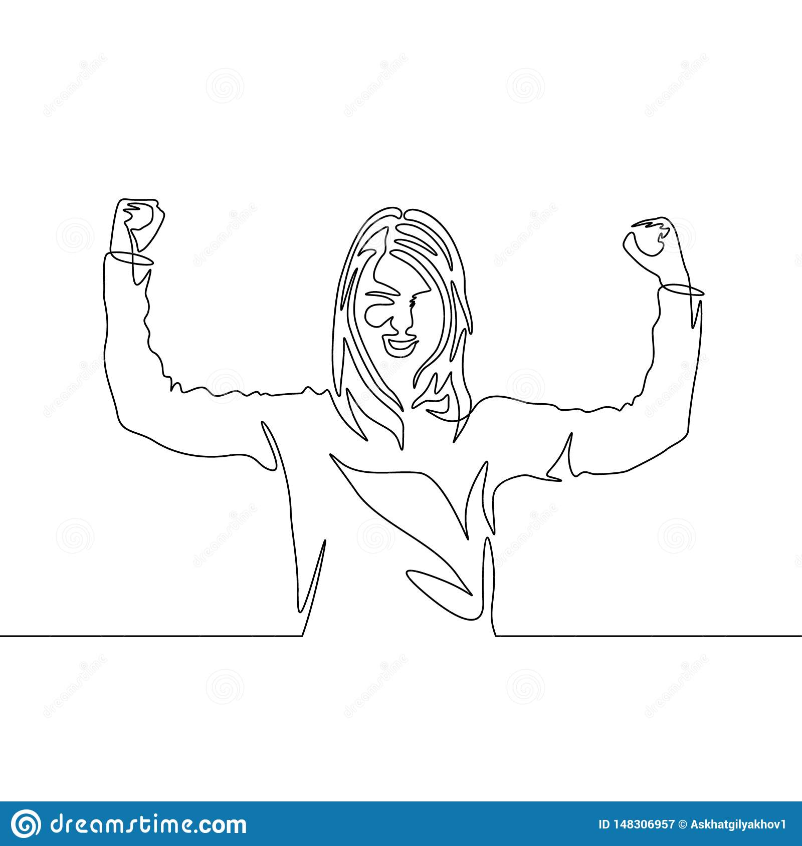 Continuous one line drawing Girl power pose