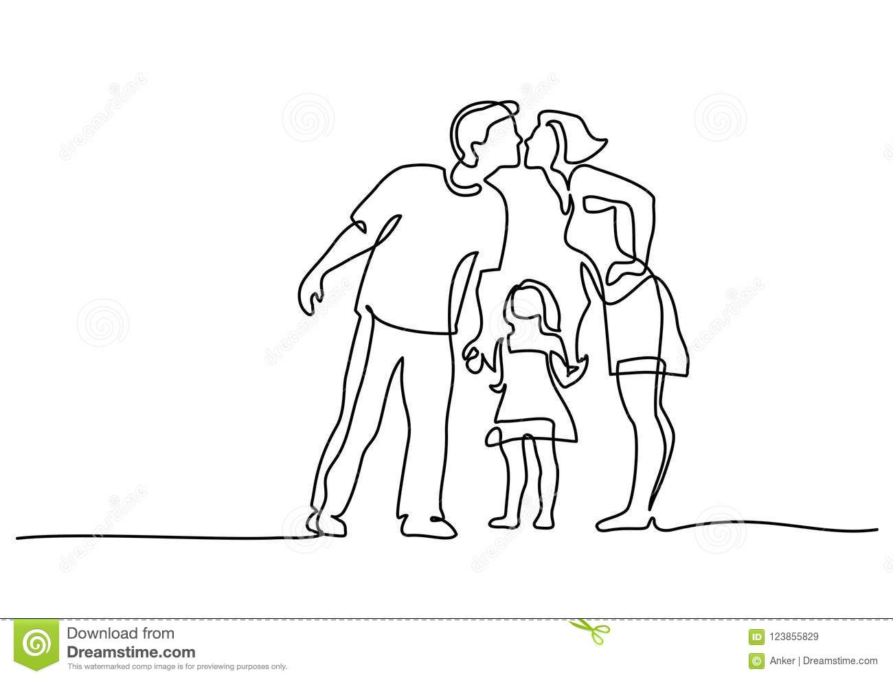 Happy Family Father And Mother Kissing Daughter Stock Vector Illustration Of Child Doodle 123855829