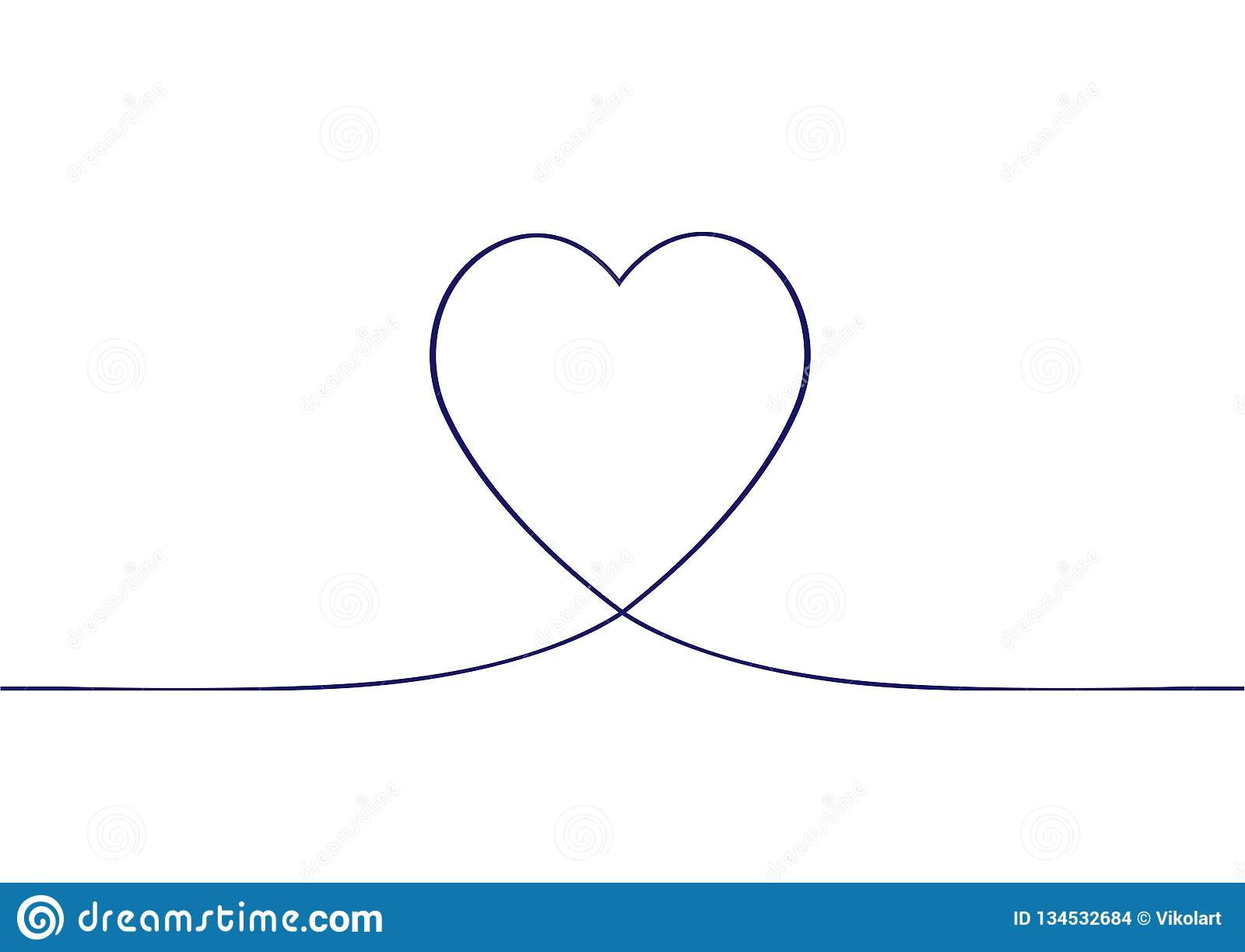 Heartbeat Line Drawing: Continuous One Line Drawing Of Heart. Heart Background