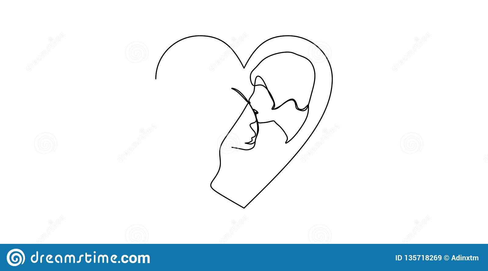 Continuous one line drawn single drawing of romantic kiss of