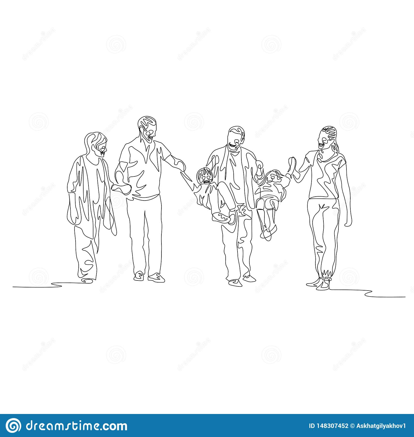 Continuous one line family multi generation, Parents swinging kids