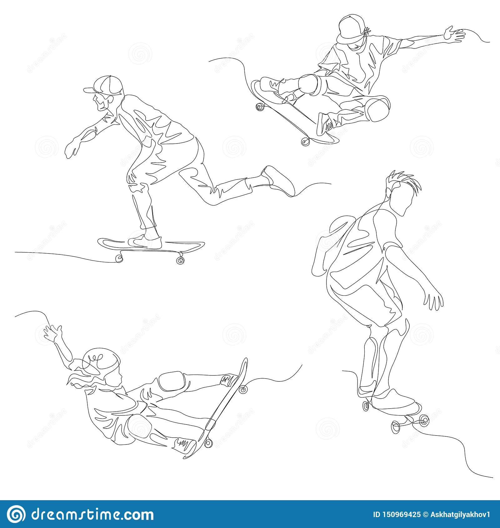 Continuous one line skater set. Skateboarding, Summer Olympic Games. Vector