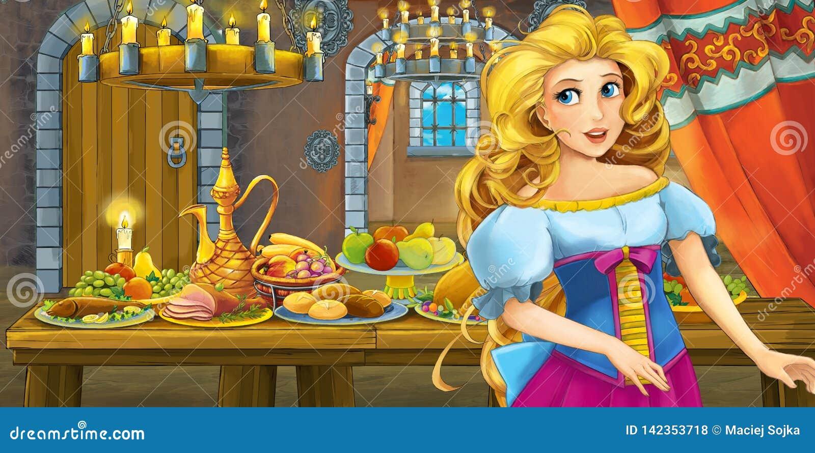 Conto de fadas dos desenhos animados com a princesa no castelo pela tabela completamente do alimento que olha e que sorri