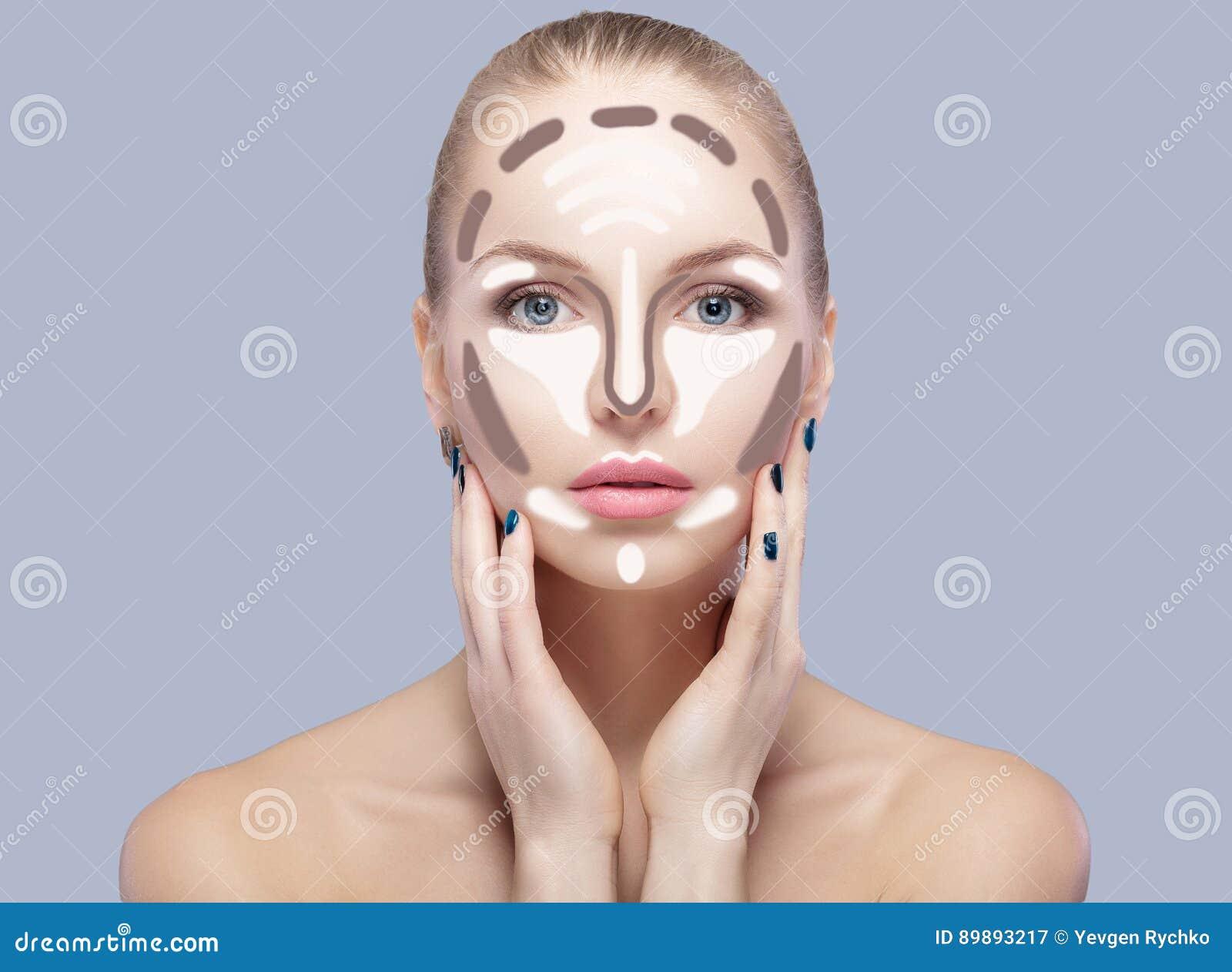 Contornear Compõe a cara da mulher no fundo cinzento Composição do contorno e do destaque