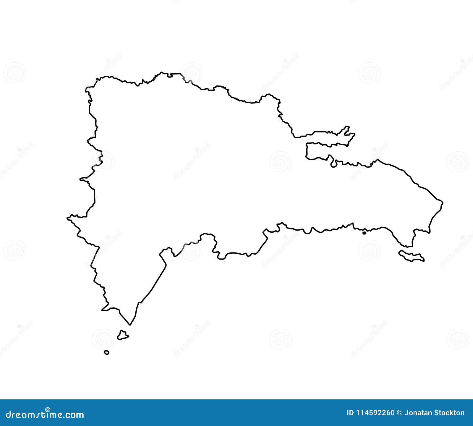 Mapa De Republica Dominicana En Blanco.Contorno Del Mapa De La Republica Dominicana Stock De