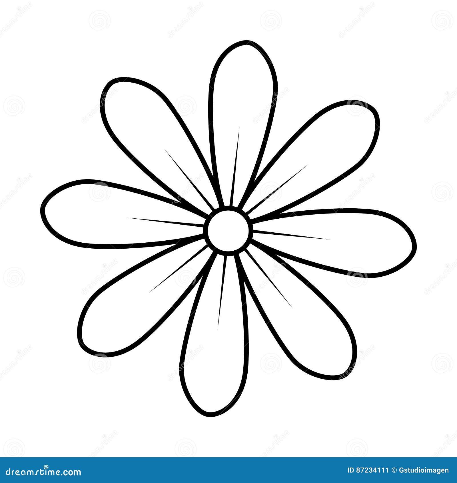Contorno Monocromatico Do Design Floral Do Icone Da Flor Da