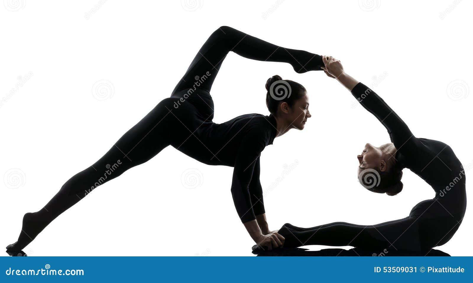 contorsionniste de deux femmes exer ant le yoga gymnastique image stock image du sports yoga. Black Bedroom Furniture Sets. Home Design Ideas