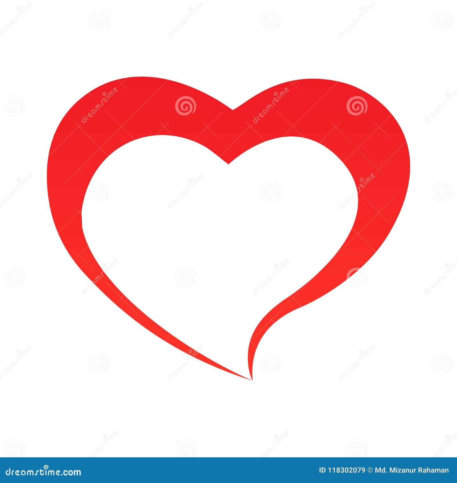 Contour abstrait de forme de coeur Illustration de vecteur Icône rouge de coeur dans le style plat Le coeur comme symbole de l am