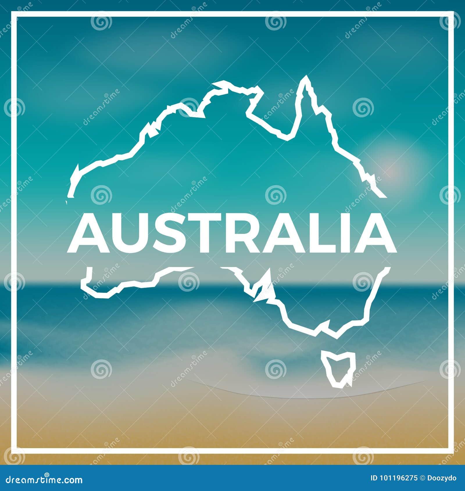 Contour approximatif de carte d Australie contre le contexte