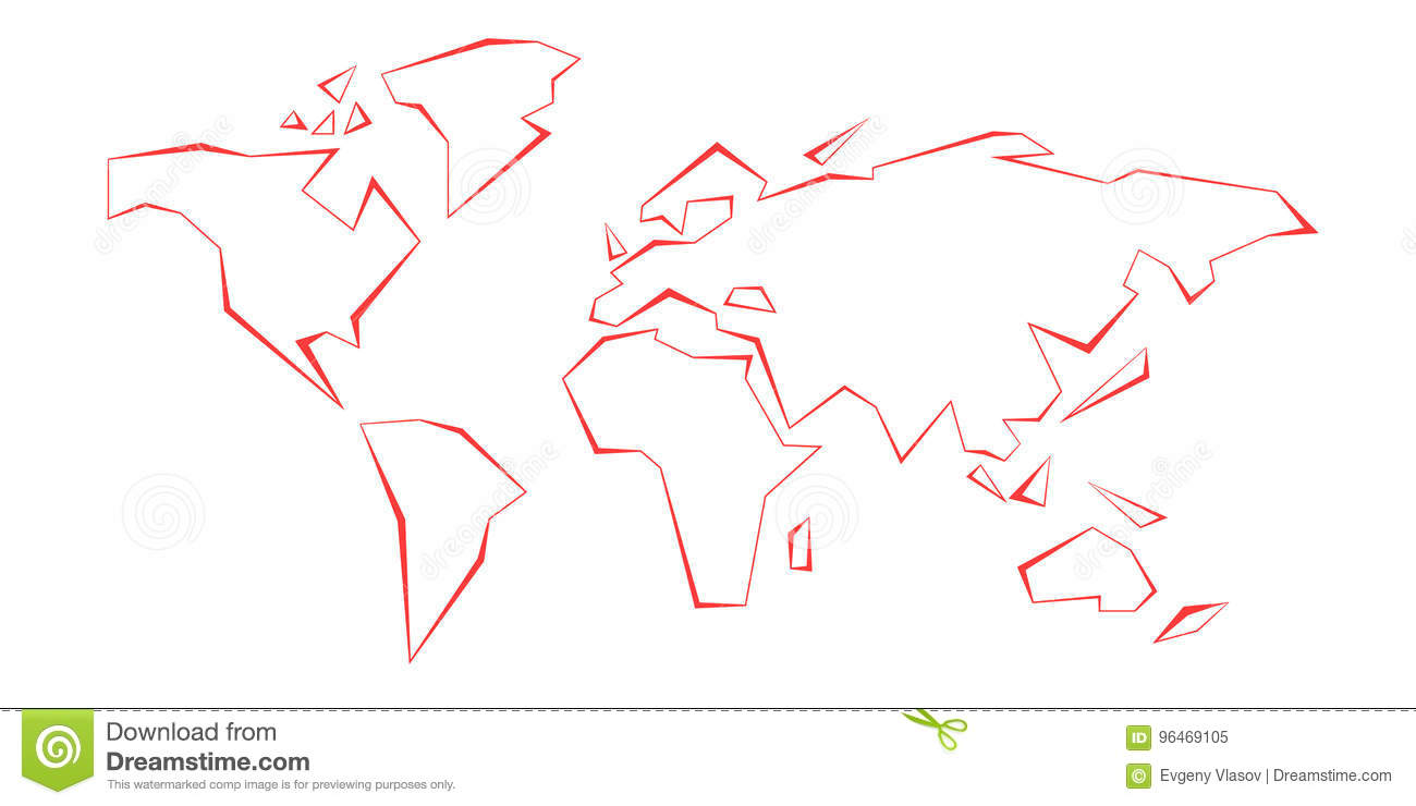 Contour Continents. World Map. Red Line. Template. Vector ...