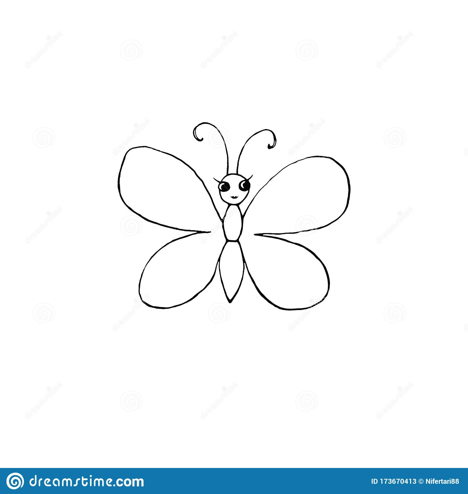 Contour Cute Butterfly With Eyes Hand Drawn In Cartoon Style