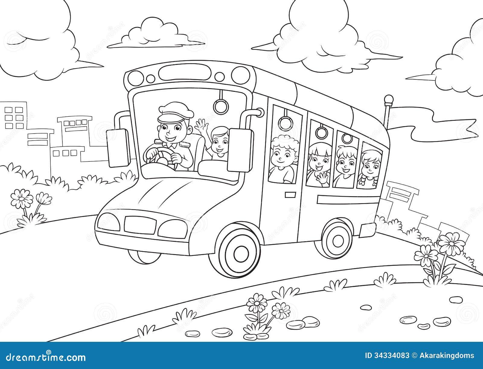 Contour d 39 autobus scolaire pour livre de coloriage - Autobus scolaire dessin ...
