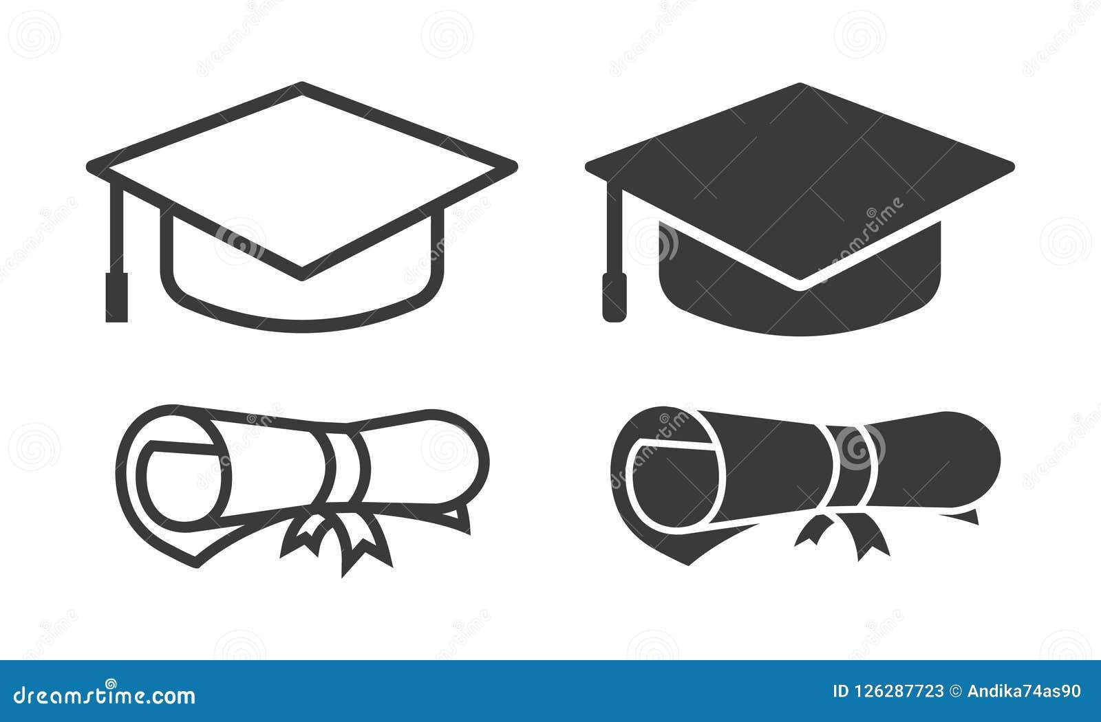 Contour d icône d obtention du diplôme de vecteur et style de glyph