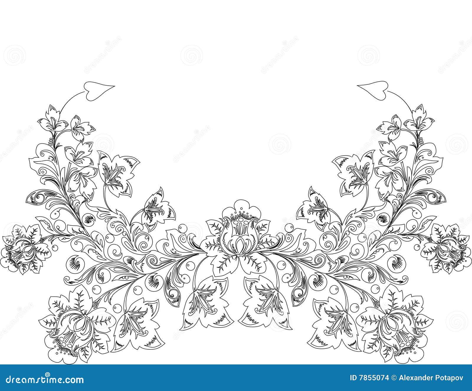 Contour de dessin de fleur de blak illustration stock - Dessin contour ...
