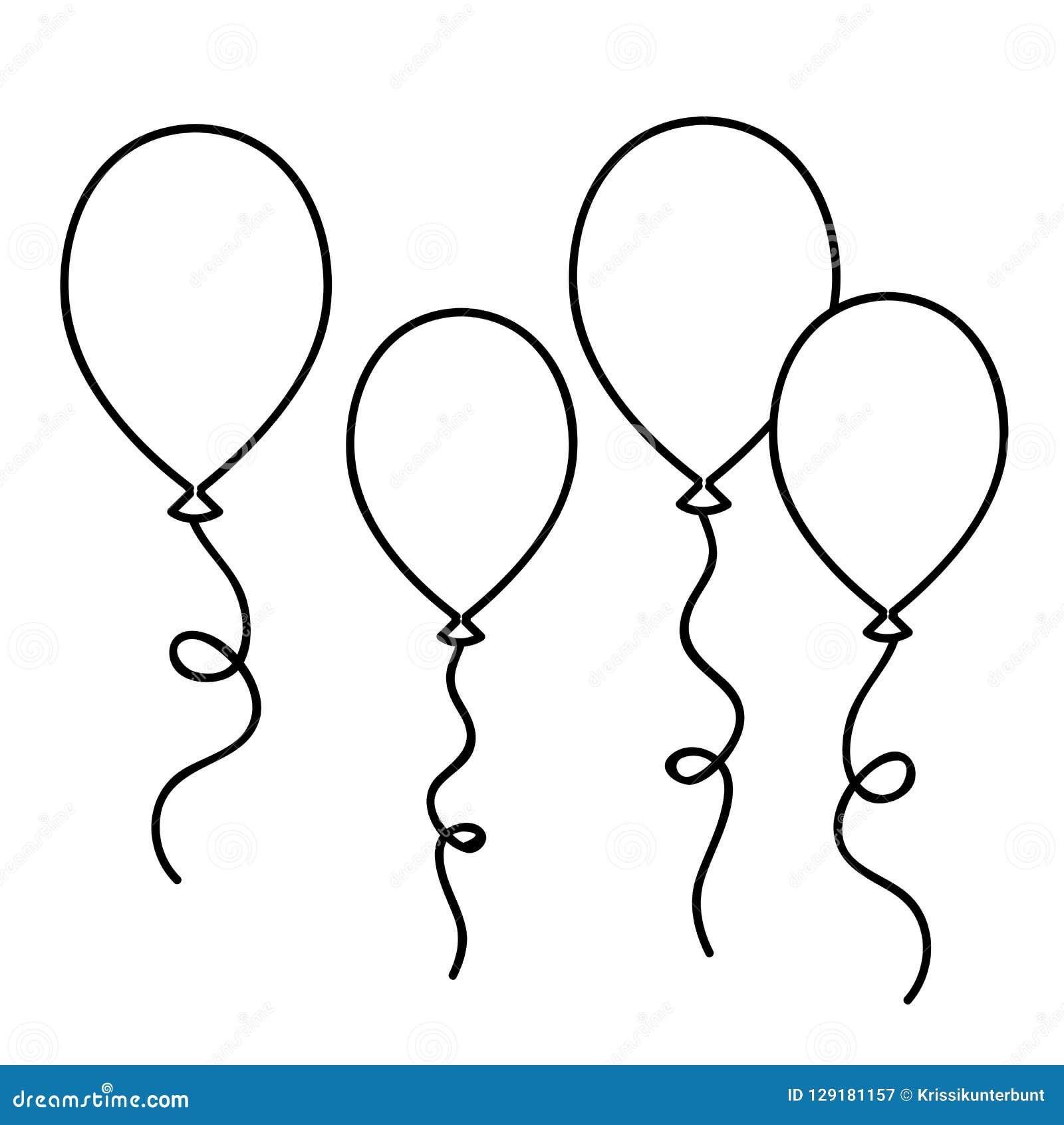 Contour De Dessin Simple De Ballons Pour Livre De Coloriage