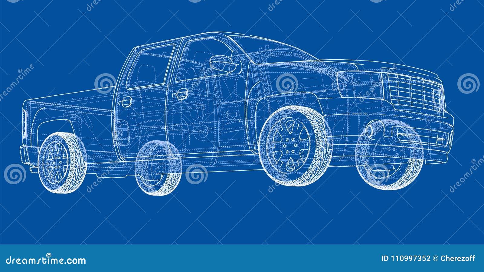 Contour de dessin de suv de voiture rendu de vecteur - Dessin contour ...
