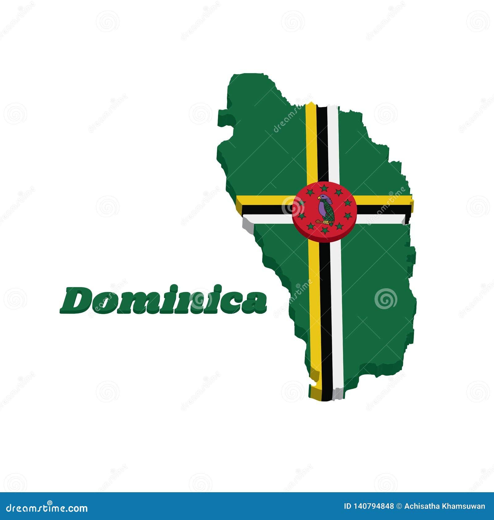 Contour de la carte 3D et drapeau de la Dominique, un champ vert avec la croix centrée du disque jaune, noir et blanc et rouge av