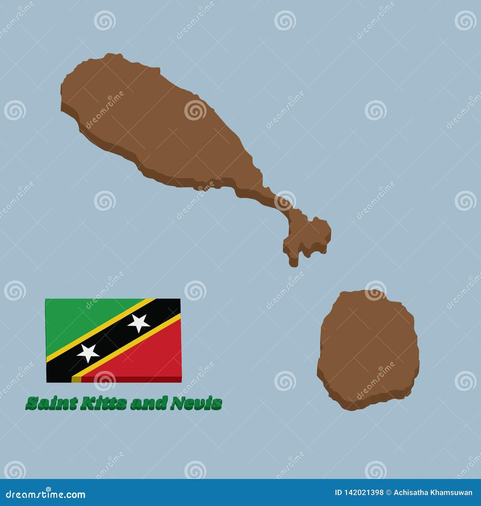 Contour de la carte 3d et drapeau de saint Kitts et Ni?v?s Une diagonale noire bord?e jaune avec l ?toile, la triangle sup?rieure