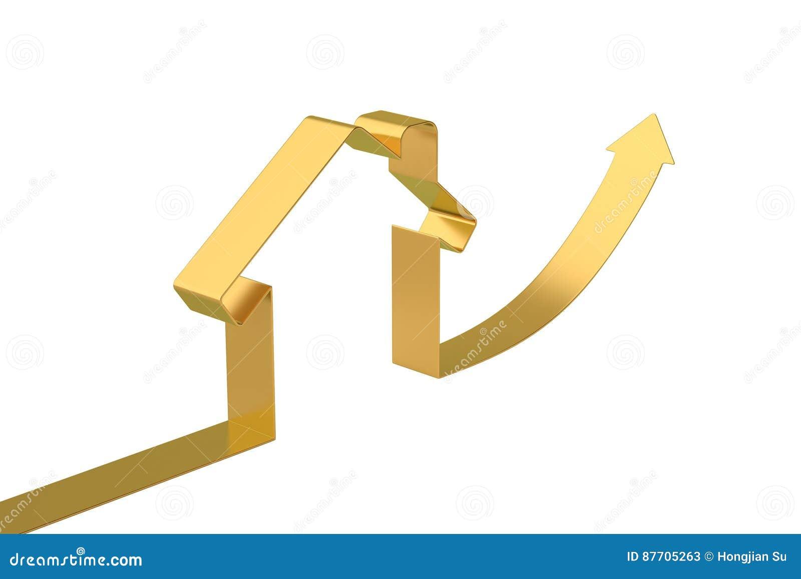 Contour de maison de flèche d or, illustration 3D