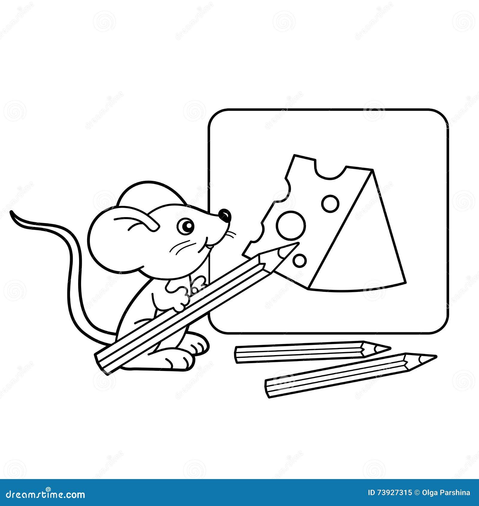 Contour de page de coloration de petite souris de bande dessinée avec des crayons avec du fromage de dessin Livre de coloriage po