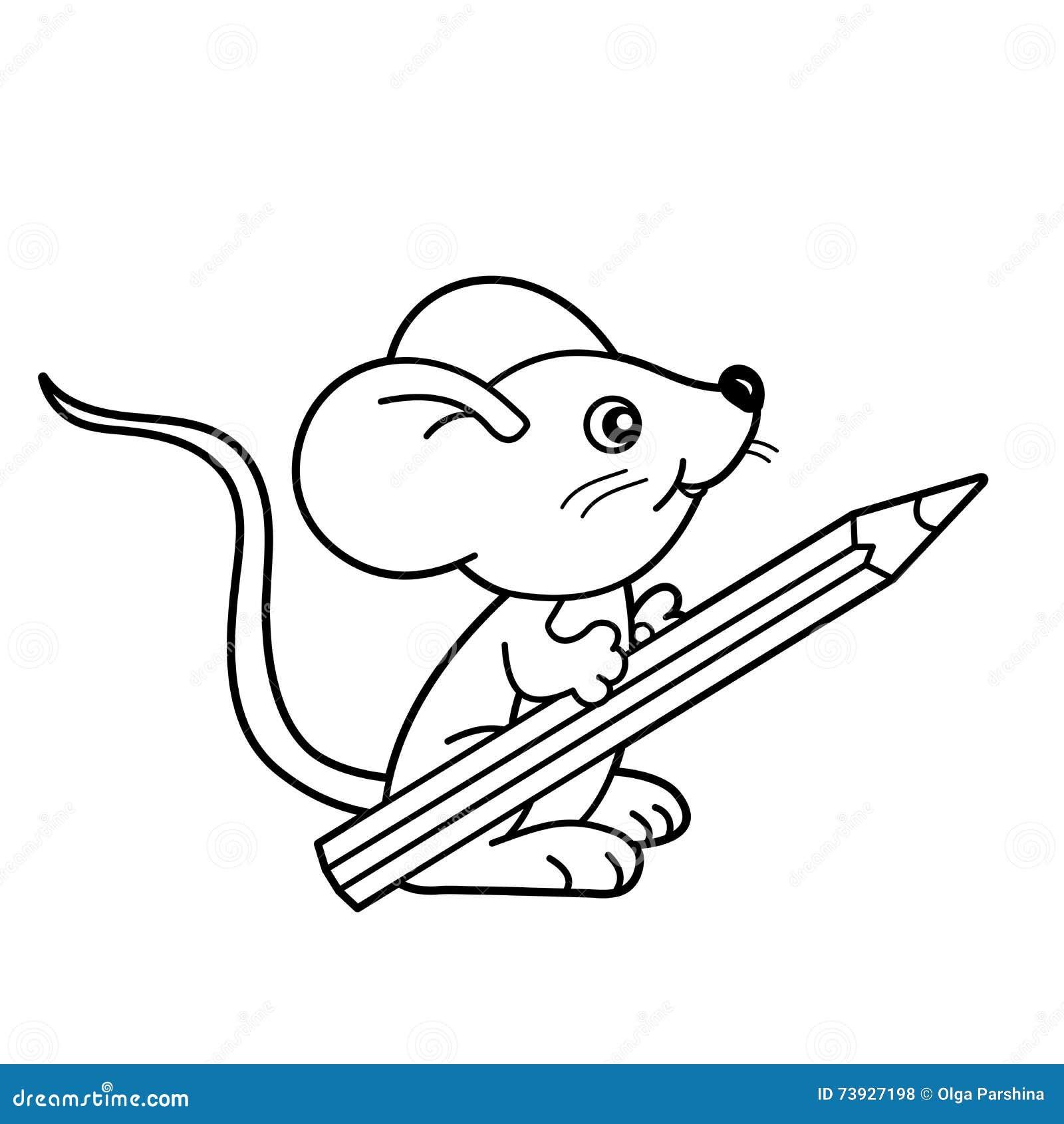 Contour de page de coloration de petite souris de bande dessin e avec le crayon livre de - Dessin petite souris ...
