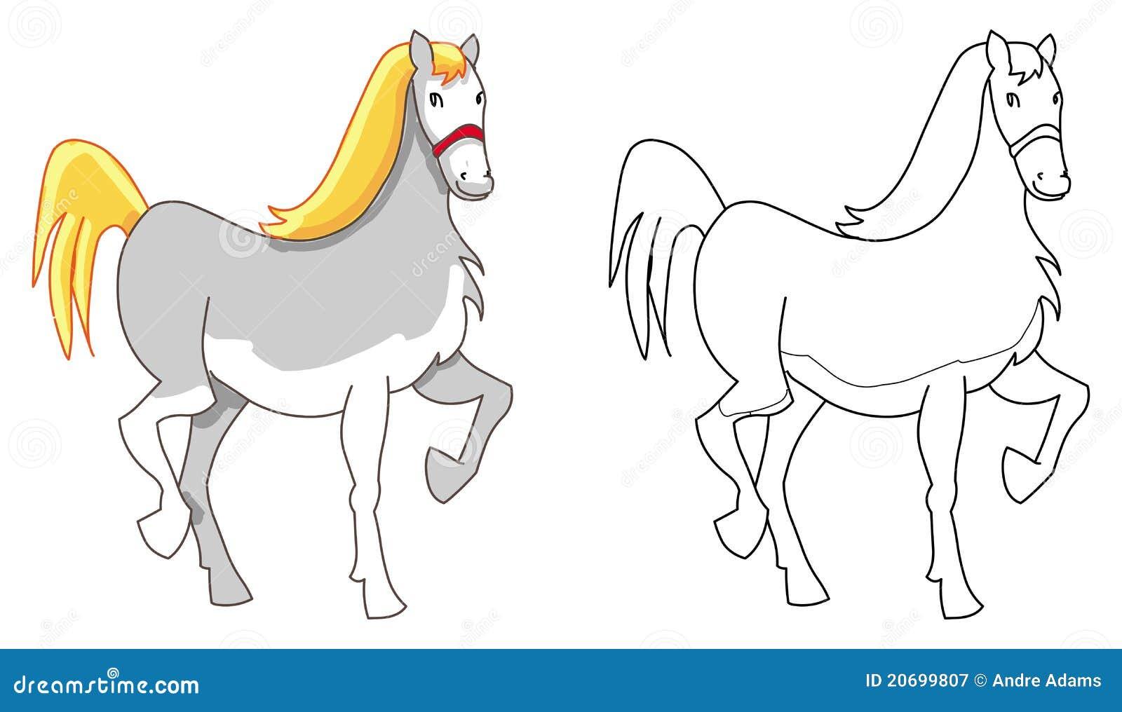 Contour de poney de cheval photographie stock libre de - Dessin contour ...