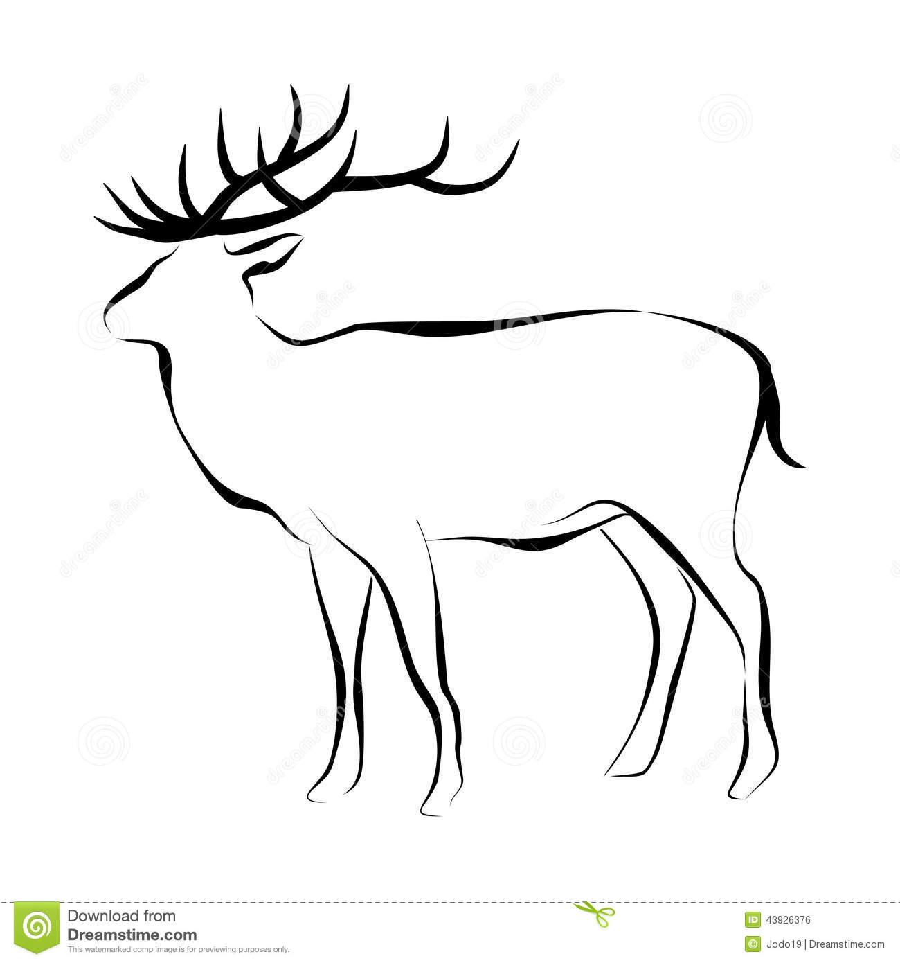 Deer Contour Line Drawing : Contour deer stock illustration image