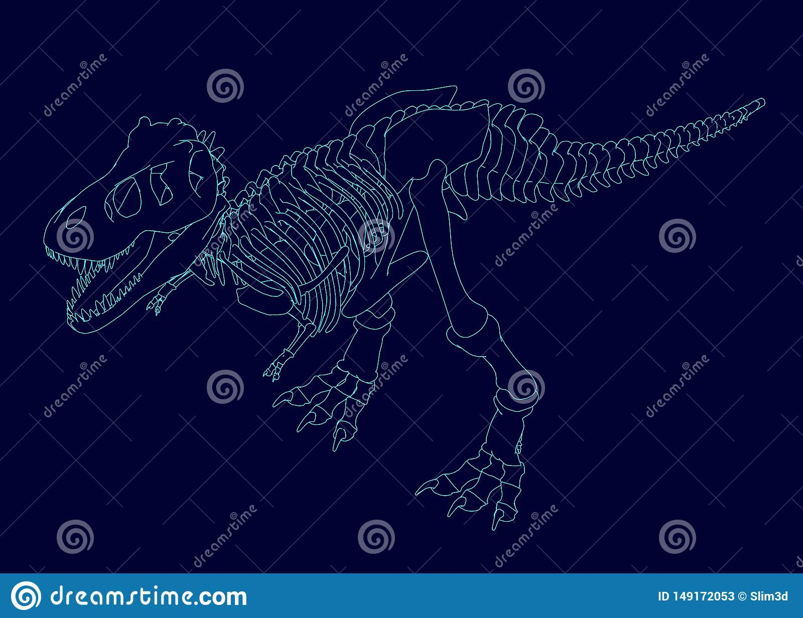 Contour of a dinosaur skeleton. Isometric view. Vector illustration