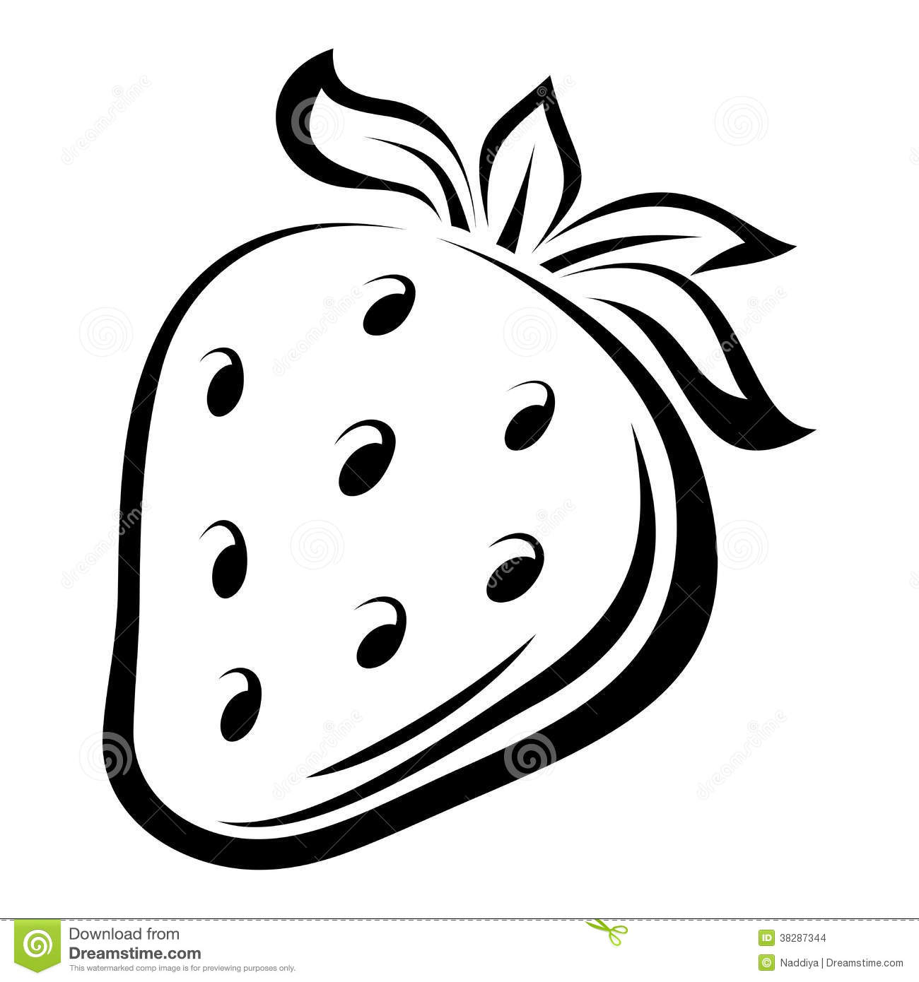 Contour Drawing Of Strawberry. Stock Vector - Illustration ...