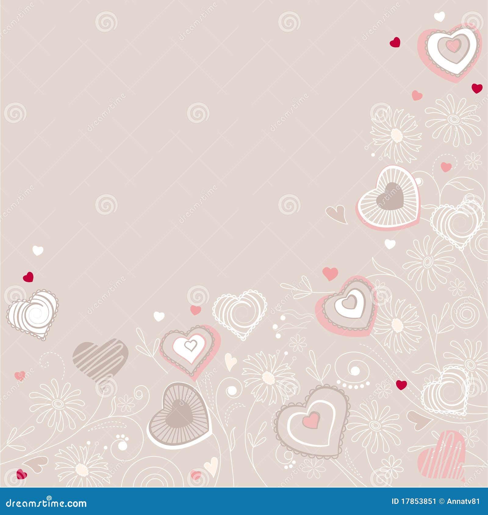 Contour hearts on pastel background