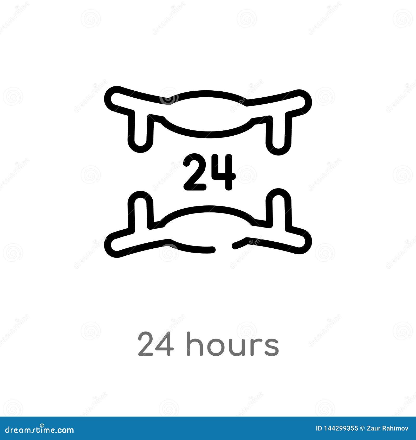 Contour 24 heures d icône de vecteur ligne simple noire d isolement illustration d élément de concept de service à la clientèle V