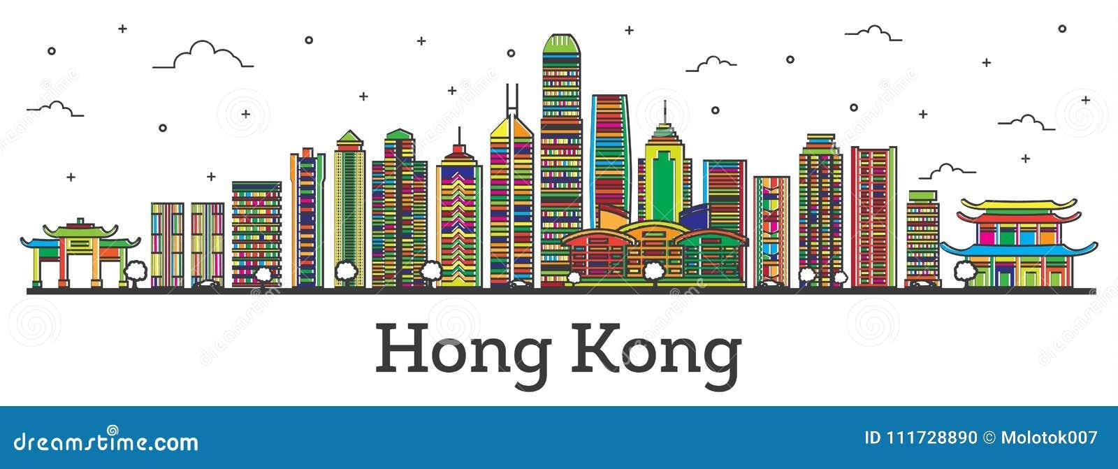 Contour Hong Kong China City Skyline avec des bâtiments Isolat de couleur
