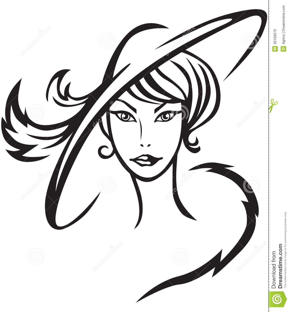 Line Drawing Lady : Beautiful lady in hat stock vector illustration of