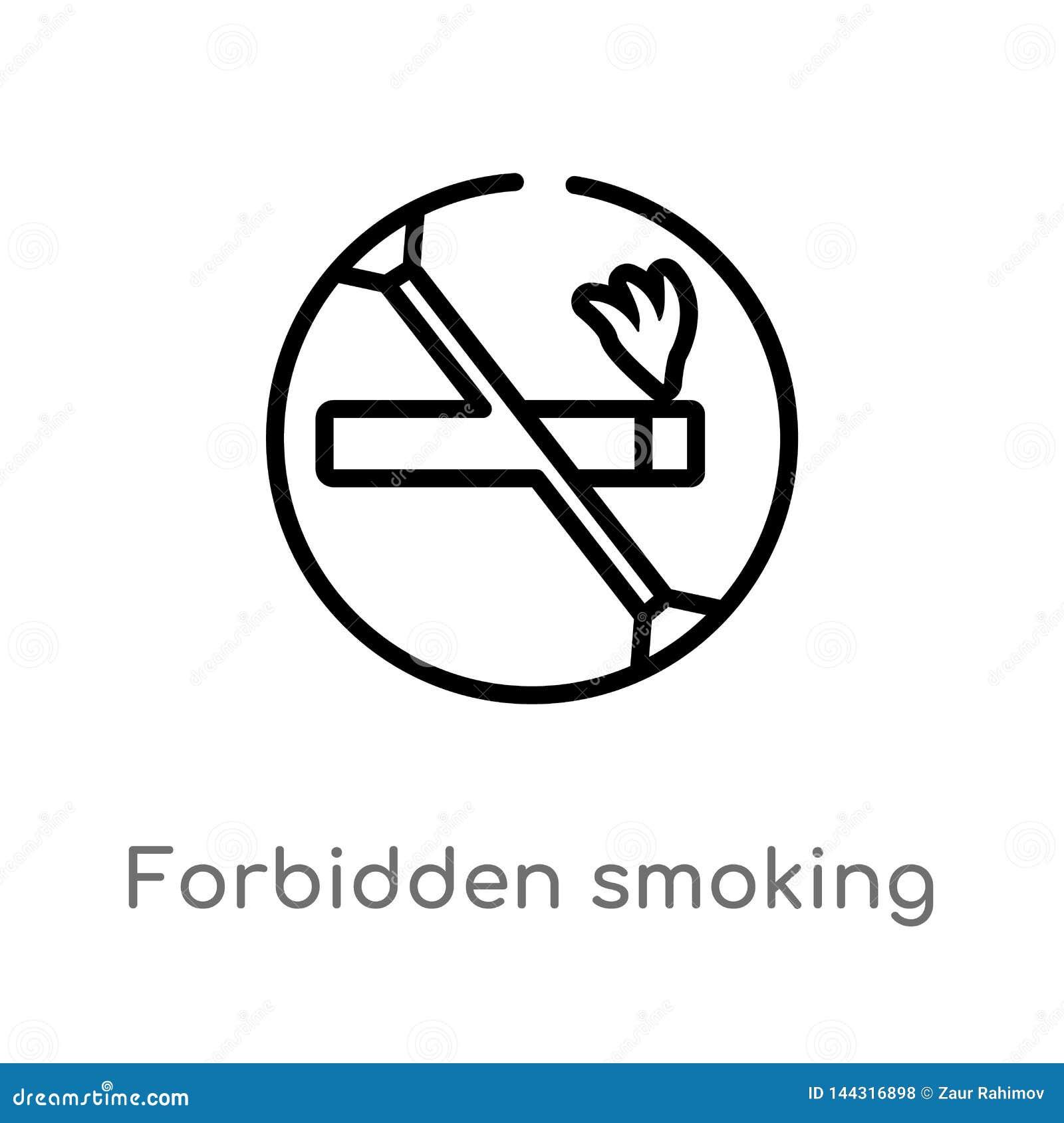 Contour interdit fumant l ic?ne de vecteur ligne simple noire d isolement illustration d ?l?ment de concept de signes Course Edit
