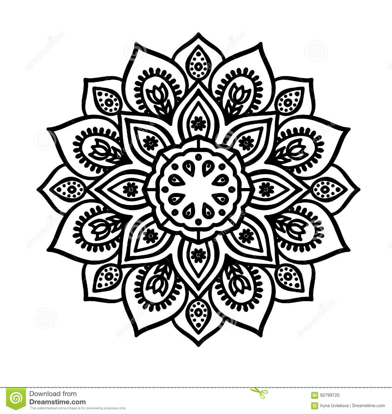 Contour Line Mandala Sketch Of Tattoo Stock Illustration